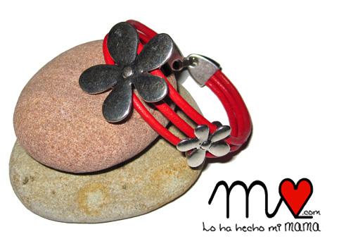 pulsera flor roja