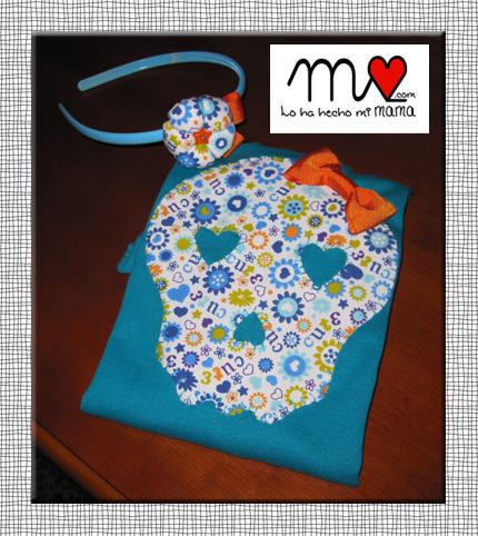 camiseta calavera azul claro 2