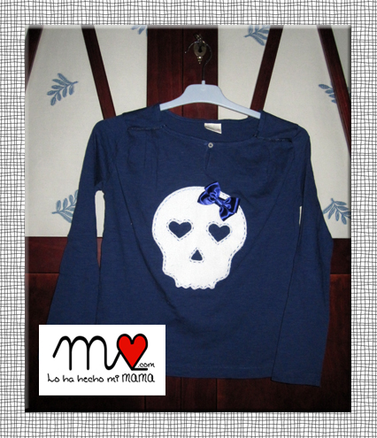camiseta calavera azul marino